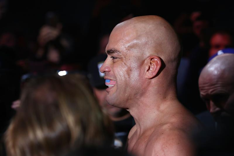 INGLEWOOD, CA - NOVEMBER 24: Tito Ortiz smiles as he enters the octagon prior to his Light Heavyweight bout against Chuck Liddell at The Forum on November 24, 2018 in Inglewood, California. (Photo by Joe Scarnici/Getty Images)