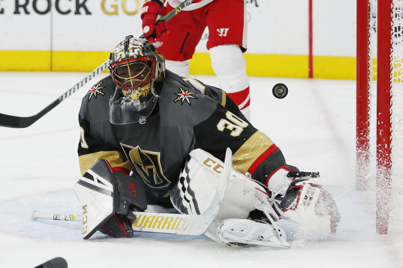 Vegas Golden Knights goaltender Malcolm Subban gives up a goal to Detroit Red Wings right wing Anthony Mantha during the third period of an NHL hockey game Saturday, March 23, 2019, in Las Vegas. (AP Photo/John Locher)