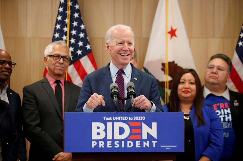 Presumptive Democratic presidential candidate and former Vice President Joe Biden speaks during a campaign stop in Los Angeles on March 4. (Photo: Mike Blake / Reuters)