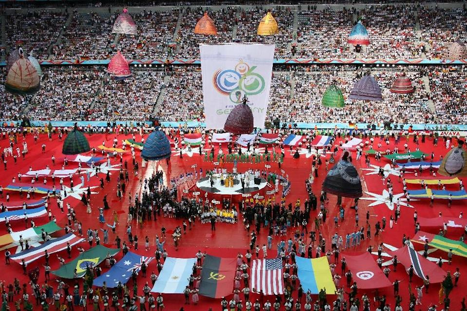 The opening ceremony in Munich for the 2006 World Cup, which Germany won its bid to host the competition ahead of South Africa by 12 votes to 11 and one abstention (AFP Photo/Francois Xavier Marit)