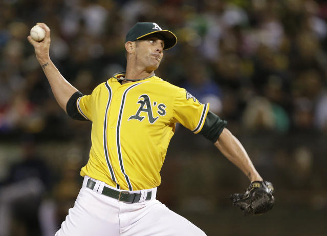 File-This Aug. 31, 2013 file photo shows Oakland Athletics closing pitcher Grant Balfour throwing against the Tampa Bay Rays in the ninth inning of their baseball game in Oakland, Calif. A person familiar with the contract says the Baltimore Orioles and free agent Balfour have agreed to a $15 million, two-year deal. (AP Photo/Eric Risberg, File)