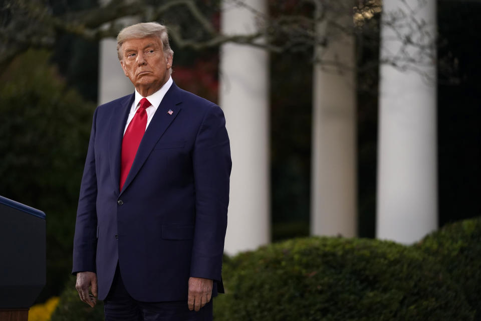 President Donald Trump listens during an event on Operation Warp Speed in the Rose Garden of the White House, Friday, Nov. 13, 2020, in Washington. (AP Photo/Evan Vucci)