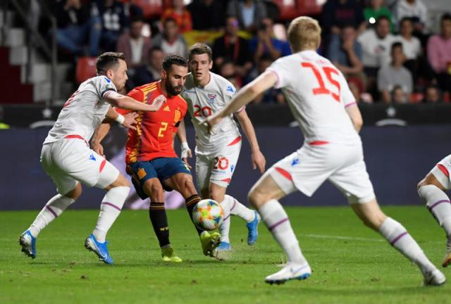 FILE PHOTO: Action from a Euro 2020 Qualifier between Spain and the Faroe Islands