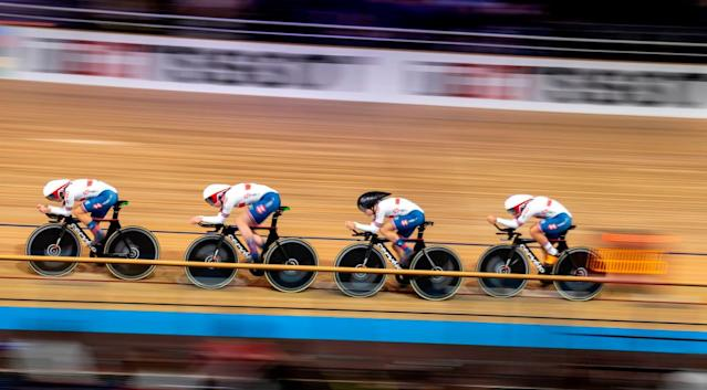 Great Britains team Katie Archibald Elinor Barker Eleanor Dickinson and Neah Evans compete in the Womens Team Pursuit qualifying at the UCI track cycling World Championship in Berlin on February 26 2020 Photo by Odd ANDERSEN AFP Photo by ODD ANDERSENAFP via Getty Images