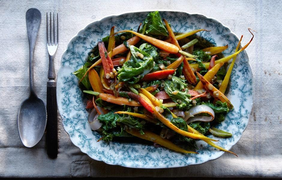 "The dressing should be emulsified. Keeping it warm will prevent it from separating, but if it does, add a couple drops of water and whisk again to bring it back together. <a href=""https://www.bonappetit.com/recipe/carrots-and-greens-with-dilly-bean-vinaigrette?mbid=synd_yahoo_rss"" rel=""nofollow noopener"" target=""_blank"" data-ylk=""slk:See recipe."" class=""link rapid-noclick-resp"">See recipe.</a>"