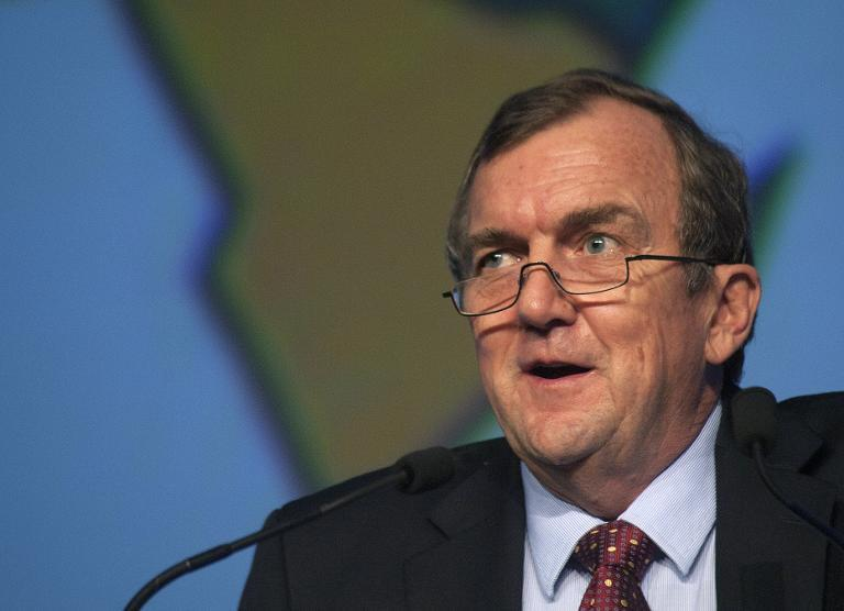 Mark Bristow, CEO of Randgold Resources, speaks on February 4, 2014, at the International Convention Centre in Cape Town