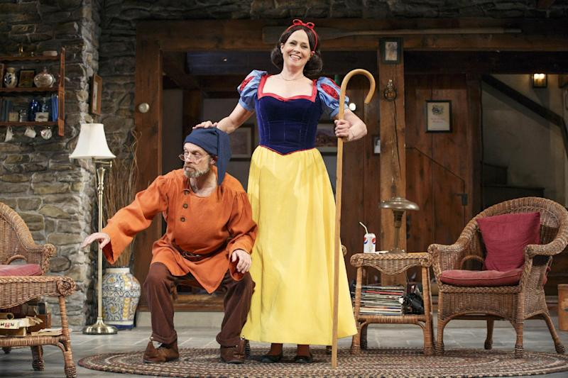 """This publicity photo provided by O & M Co. shows David Hyde Pierce, left, and Sigourney Weaver in """"Vanya and Sonia and Masha and Spike."""" All kinds of things are flipped around in the playwright, Christopher Durang's utterly refreshing farce """"Vanya and Sonia and Masha and Spike,"""" which has happily made the leap from off-Broadway to open Thursday, March 14, 2013, at the Golden Theatre. (AP Photo/O and M Co., Carol Rosegg)"""