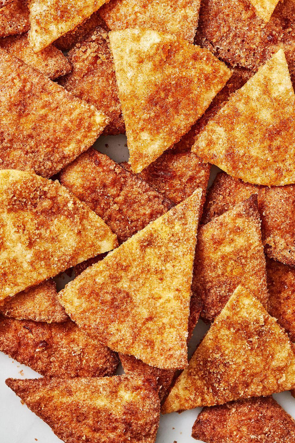 "<p>Make them in the air fryer for a different kind of crunch,</p><p>Get the recipe from <a href=""https://www.delish.com/cooking/recipe-ideas/a28581106/churro-chips-recipe/"" rel=""nofollow noopener"" target=""_blank"" data-ylk=""slk:Delish"" class=""link rapid-noclick-resp"">Delish</a>.</p>"