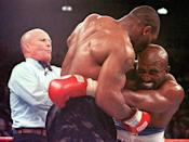 <p>An already troubled celebrity boxer, Mike Tyson took things way too far during his highly publicized fight with Evander Holyfield. Shortly before the third round was ending, Tyson bit off a piece Holyfield's right ear. For some odd reason, the fight continued until Tyson made another attempt on Holyfield's left ear. </p>