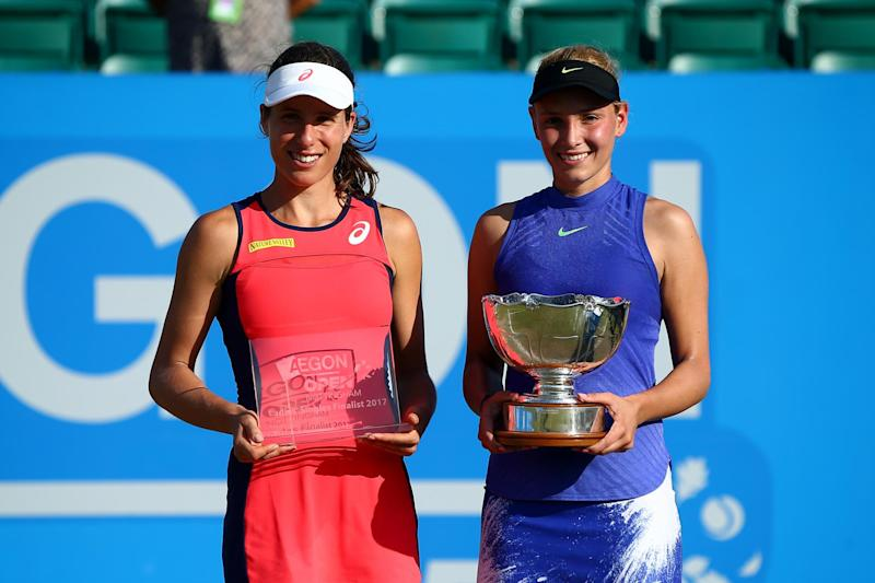 Konta (l) is still waiting for a first title on British soil: Getty Images for LTA