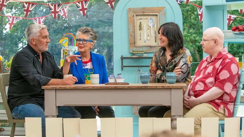 Judges Paul Hollywood, left, and Prue Leith with hosts Noel Fielding and Matt Lucas.