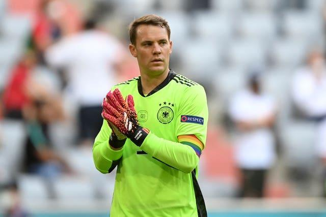 Germany's goalkeeper Manuel Neuer wearing the rainbow armband in the Euro 2020 match against Portugal
