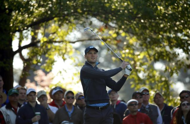 Germany's Martin Kaymer hits from the fourth tee during the first round of the Masters golf tournament at the Augusta National Golf Club in Augusta, Georgia April 10, 2014. REUTERS/Mike Blake (UNITED STATES - Tags: SPORT GOLF)