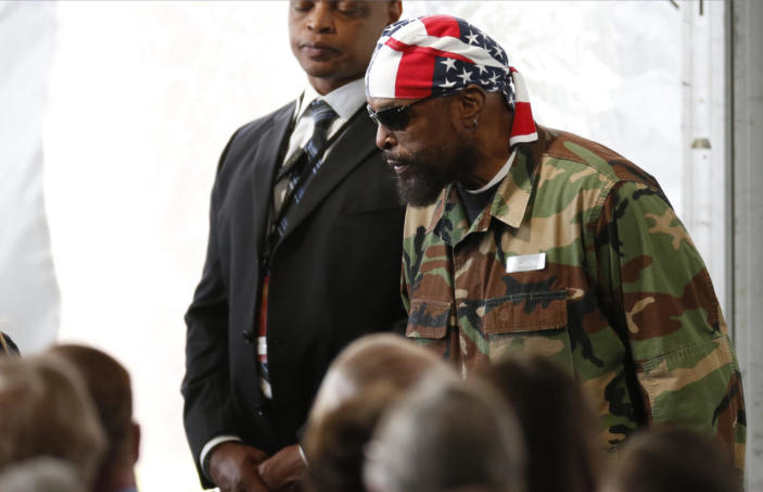 <p>Entertainer Mr. T arrives for the funeral of Nancy Reagan in Simi Valley, Calif. <i>(Photo: Lucy Nicholson/Reuters)</i></p>