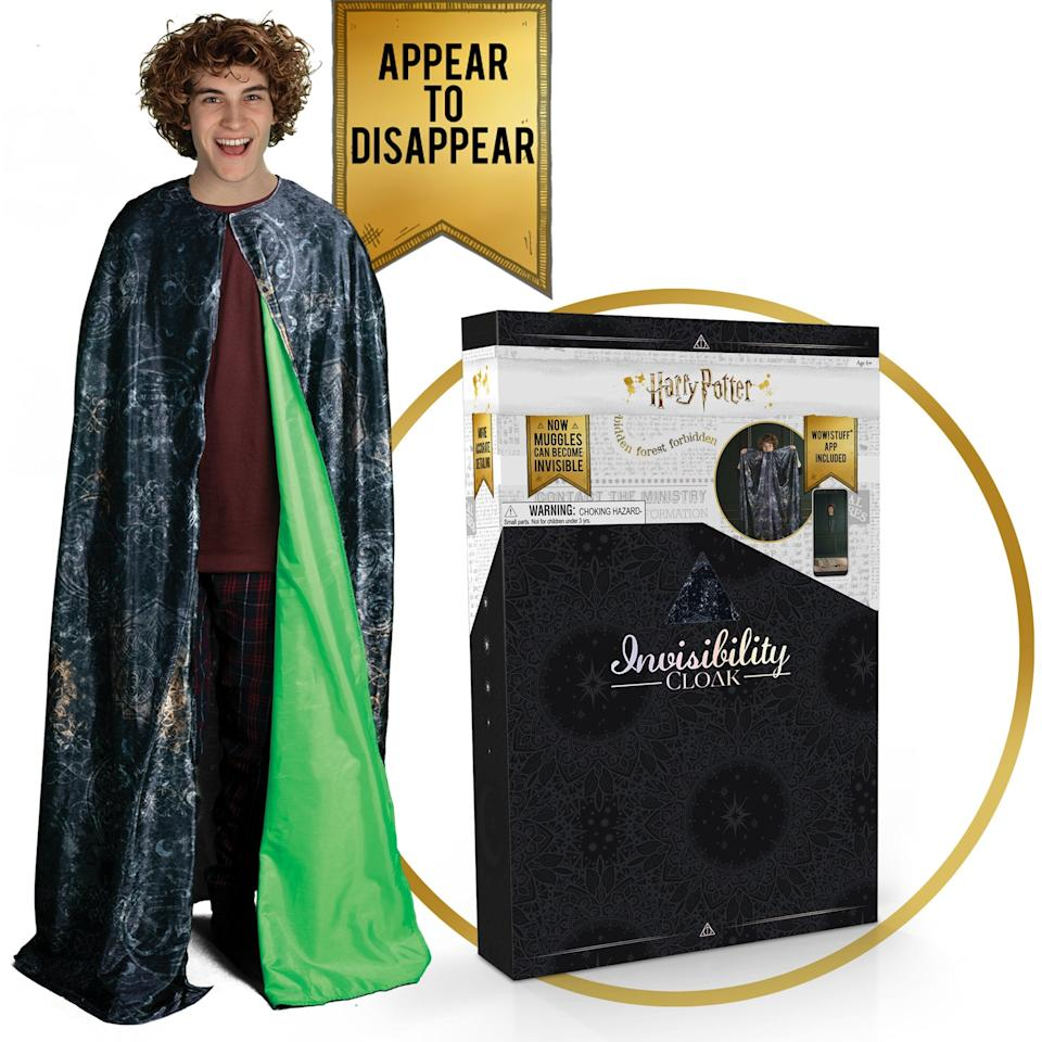 """<p>Your tween can actually experience being invisible with the <a href=""""https://www.popsugar.com/buy/Harry-Potter-Invisibility-Cloak-510354?p_name=Harry%20Potter%20Invisibility%20Cloak&retailer=walmart.com&pid=510354&price=59&evar1=moms%3Aus&evar9=46840115&evar98=https%3A%2F%2Fwww.popsugar.com%2Fphoto-gallery%2F46840115%2Fimage%2F46840141%2FHarry-Potter-Invisibility-Cloak&list1=gifts%2Choliday%2Ctoys%2Cgift%20guide%2Cgifts%20for%20kids%2Ckid%20shopping%2Ctweens%20and%20teens%2Cgifts%20for%20teens&prop13=api&pdata=1"""" rel=""""nofollow"""" data-shoppable-link=""""1"""" target=""""_blank"""" class=""""ga-track"""" data-ga-category=""""Related"""" data-ga-label=""""https://www.walmart.com/ip/Harry-Potter-Invisibility-Cloak-with-Exclusive-Gift-Box-Package/717507519"""" data-ga-action=""""In-Line Links"""">Harry Potter Invisibility Cloak</a> ($59).</p>"""