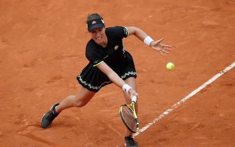 Britain's Johanna Konta plays a shot against Marketa Vondrousova of the Czech Republic during their semifinal match of the French Open tennis tournament at the Roland Garros - Credit: AP Photo/Christophe Ena