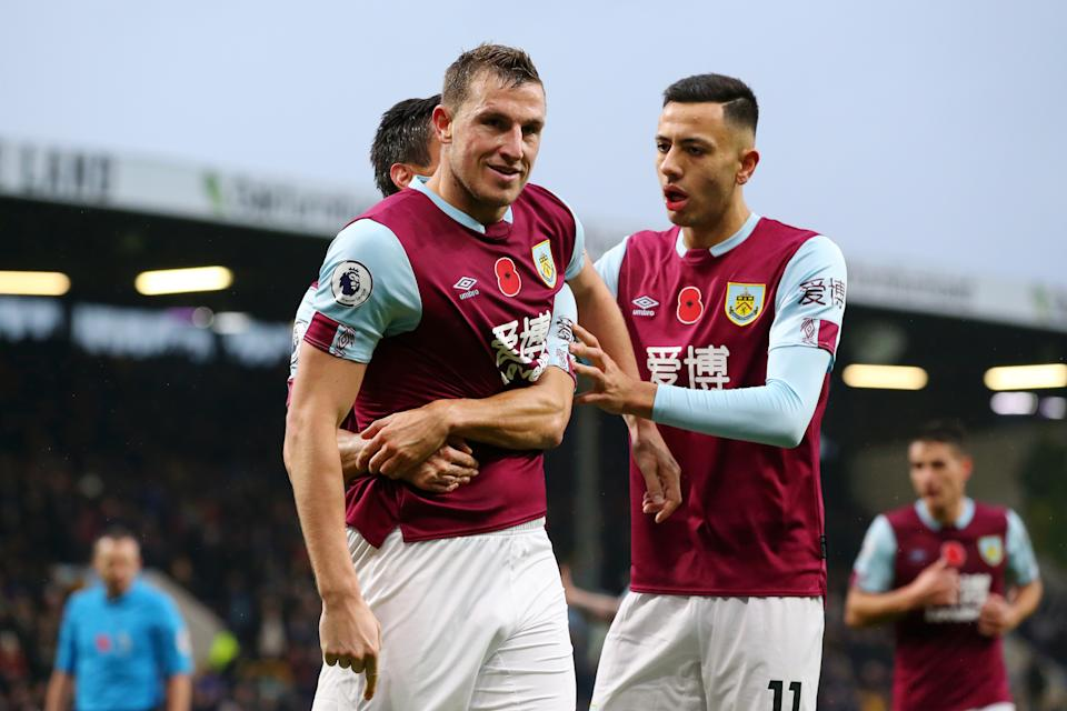 Chris Wood of Burnley celebrates with teammates after scoring against West Ham. (Photo by Alex Livesey/Getty Images)