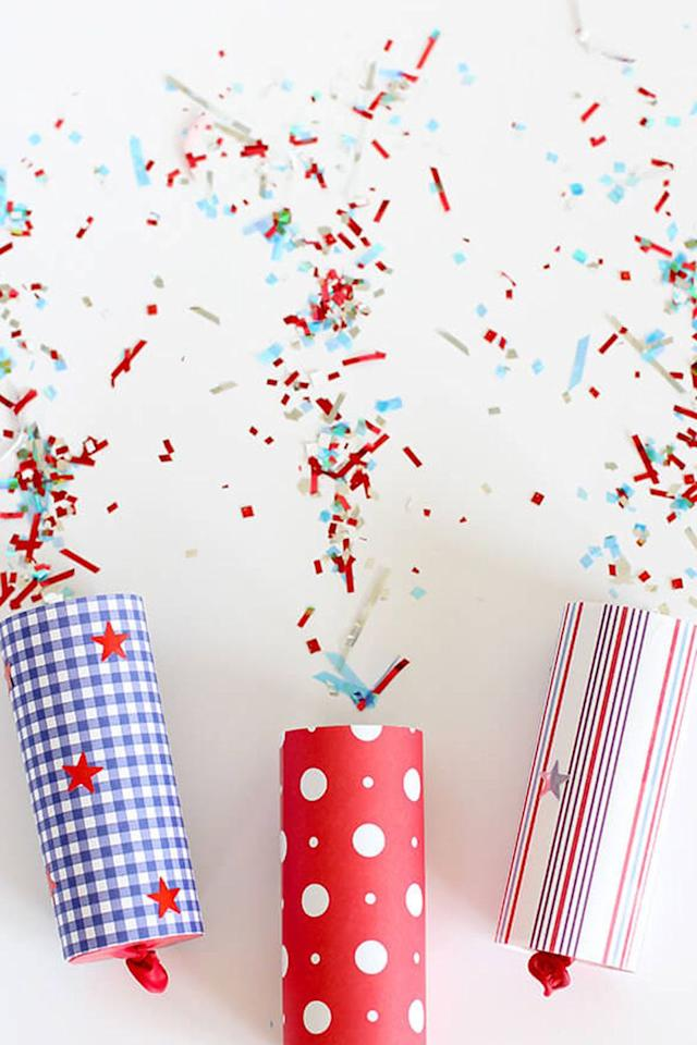 """<p>These patriotic poppers filled with red, white, and blue confetti will be enjoyed by both kids and adults at this year's party. Hand them out, count to three, and let them rip!</p><p><strong>Get the tutorial from <a rel=""""nofollow"""" href=""""https://www.happinessishomemade.net/diy-confetti-poppers-for-4th-of-july/"""">Happiness is Homemade</a>. </strong></p><p><strong>What you'll need: </strong>balloons ($7, <a rel=""""nofollow"""" href=""""https://www.amazon.com/Bag-Balloons-Assorted-Color-Latex/dp/B00MU8YBUU/ref=sr_1_1_sspa"""">amazon.com</a>), patriotic scrapbook paper ($10, <a rel=""""nofollow"""" href=""""https://www.amazon.com/Reminisce-American-Vintage-Scrapbook-Collection/dp/B071L1SPSC/ref=sr_1_1"""">amazon.com</a>), red, white and blue confetti ($6, <a rel=""""nofollow"""" href=""""https://www.amazon.com/Amscan-369170-Patriotic-Confetti-Decoration/dp/B007UTEBW2/ref=sr_1_3"""">amazon.com</a>)</p>"""