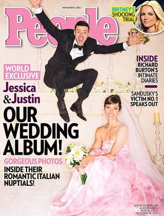 """<p>Jessica Biel and Justin Timberlake <a href=""""https://www.popsugar.com/celebrity/Kim-Kardashian-Kanye-West-Wedding-Facts-43470534"""" rel=""""nofollow noopener"""" target=""""_blank"""" data-ylk=""""slk:wed in Puglia, Italy"""" class=""""link rapid-noclick-resp"""">wed in Puglia, Italy</a> on October 19, 2012. Biel wore a pink Giambattista Valli Haute Couture gown, and attendees included her former <em>7th Heaven </em>co-stars. </p>"""