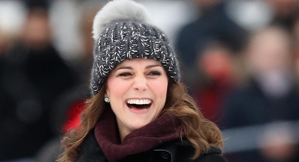 The Duchess of Cambridge appears to have a penchant for knitted beanie hats as she sported a grey number during a royal visit to Sweden in 2018.  (Getty Images)