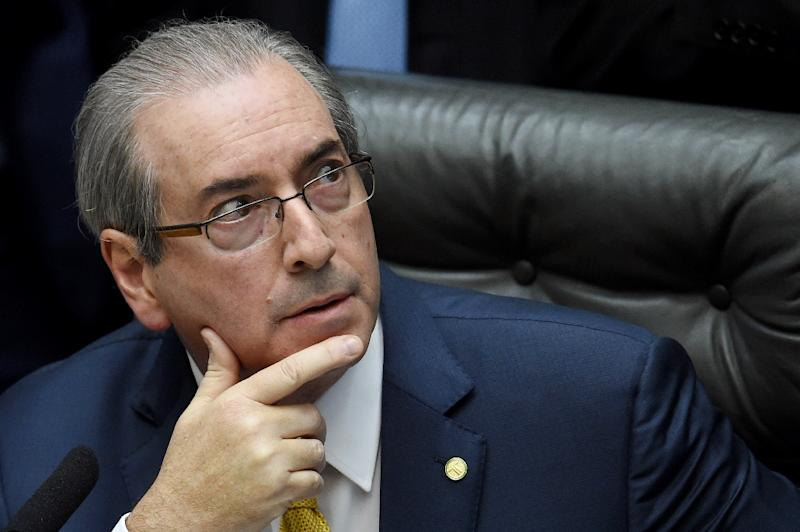 Brazil's Lower House speaker Eduardo Cunha is a key opponent of President Dilma Rousseff and architect of impeachment proceedings against her (AFP Photo/Evaristo Sa)