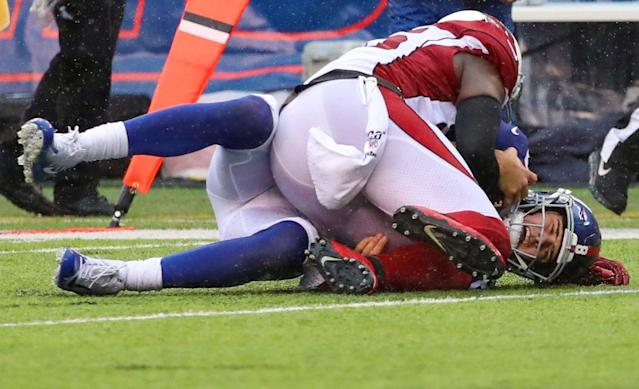 Giants' 'unacceptable' performance derailed by offensive line allowing 8 sacks to Arizona Cardinals