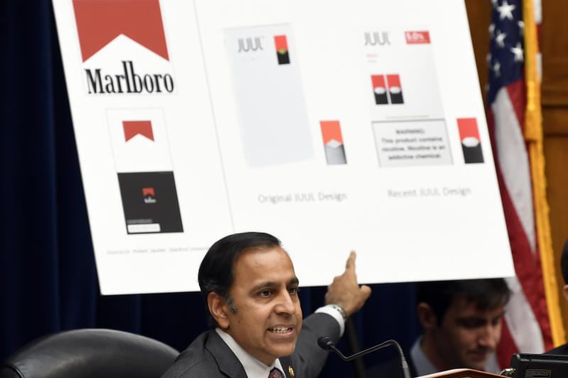 House Oversight and Government Reform subcommittee chair Rep. Raja Krishnamoorthi, D-Ill., speaks as he questions JUUL Labs co-founder and Chief Product Officer James Monsees during a subcommittee hearing on Capitol Hill in Washington, Thursday, July 25, 2019, on the youth nicotine epidemic. (AP Photo/Susan Walsh)