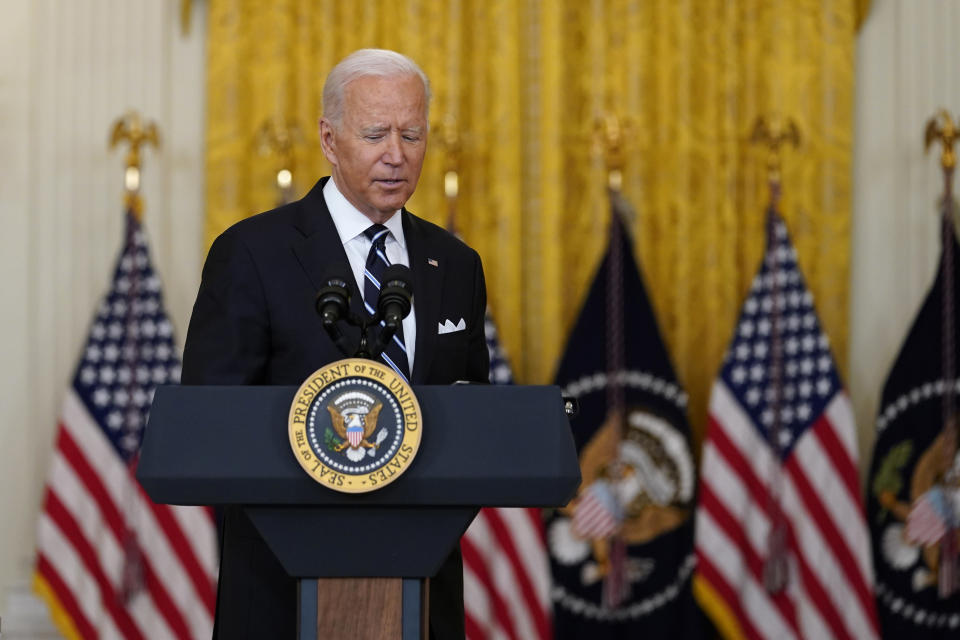 President Joe Biden turns to leave after speaking from the East Room of the White House in Washington, Wednesday, Aug 18, 2021, on the COVID-19 response and vaccination program. U.S. health officials Wednesday announced plans to offer COVID-19 booster shots to all Americans to shore up their protection amid the surging delta variant and signs that the vaccines' effectiveness is falling. (AP Photo/Susan Walsh)