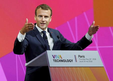 French President Emmanuel Macron speaks to participants at the Viva Tech start-up techonology summit in Paris