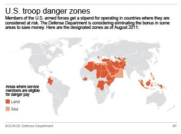Map shows countries and areas considered danger zones for U.S. troops; 3c x 4 inches; 146 mm x 101 mm;