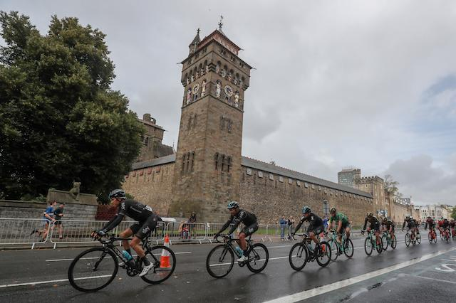 Team Sky's Geriant Thomas leads the peleton past Cardiff Castle during stage eight of the OVO Energy Tour of Britain from  Worcester to Cardiff. PRESS ASSOCIATION Photo. Picture date: Sunday September 10, 2017. See PA story CYCLING Tour of Britain. Photo credit should read: David Davies/PA Wire