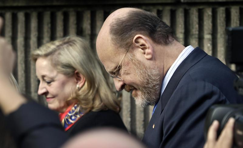 Republican mayoral candidate Joe Lhota and his wife Tamra leaves a news briefing after voting in the general election on Tuesday, Nov. 5, 2013, in the Brooklyn borough of New York. His rival, Democrat Bill de Blasio, has been up nearly 40 percentage points in every survey conducted since the general election matchup was set nearly two months ago. (AP Photo/Bebeto Matthews)