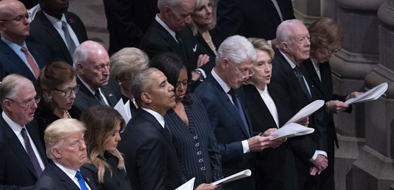 Donald Trump at George H.W. Bush's funeral.