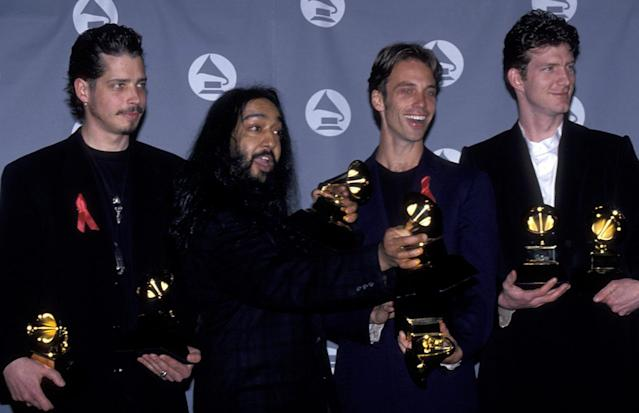 <p>Chris Cornell, Kim Thayil, Matt Cameron and Ben Shepherd of Soundgarden attend 37th Annual Grammy Awards on March 1, 1995 at the Shrine Auditorium in Los Angeles, California.<br>(Photo by Ron Galella, Ltd./WireImage) </p>