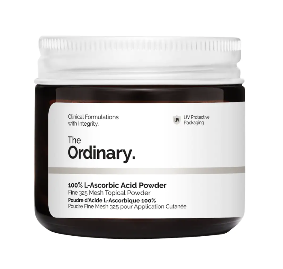container of The Ordinary 100% L-Ascorbic Acid Powder on white background