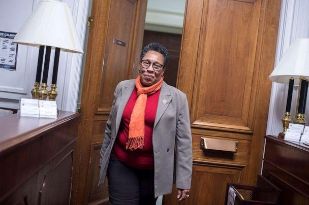 PHOTO: Rep. Marcia Fudge, D-Ohio, walks into her Rayburn Building office after talking with reporters about her possible run for House speaker on Nov. 16, 2018.  (CQ-Roll Call via Getty Images, FILE)