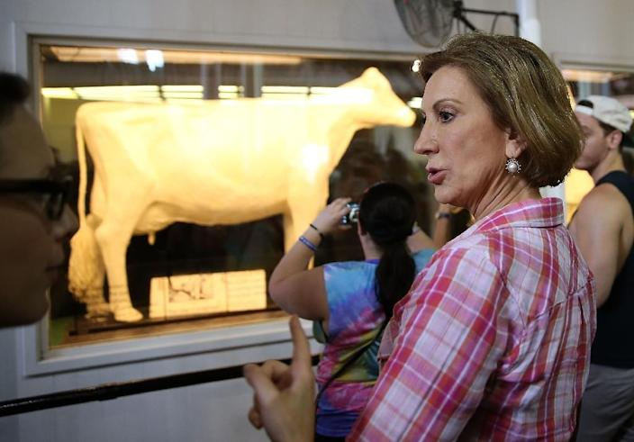 Republican presidential candidate Carly Fiorina looks at the Butter Cow while touring the Iowa State Fair on August 17, 2015 in Des Moines, Iowa (AFP Photo/Justin Sullivan)