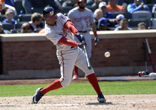 Washington Nationals' Victor Robles hits a home run during the sixth inning of a baseball game against the New York Mets, Thursday, April 4, 2019, in New York. (AP Photo/Bill Kostroun)