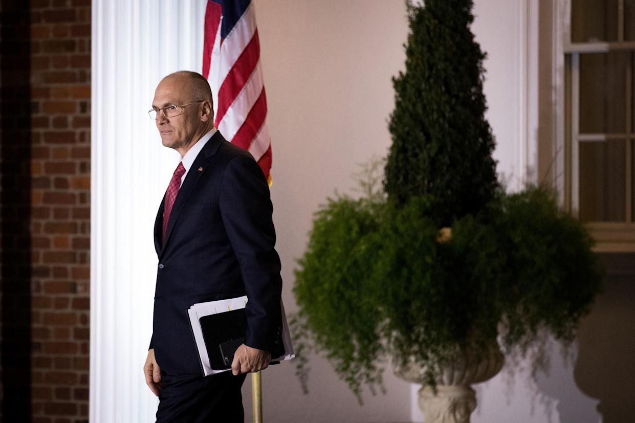 Andrew Puzder, chief executive of CKE Restaurants, leaves a meeting with president-elect Donald Trump at Trump International Golf Club, Nov. 19, 2016, in Bedminster Township, N.J. (Photo: Drew Angerer/Getty Images)