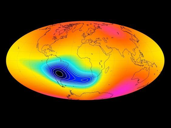 The South Atlantic Anomaly has been captured by the Swarm satellite constellation (Division of Geomagnetism, DTU Space)