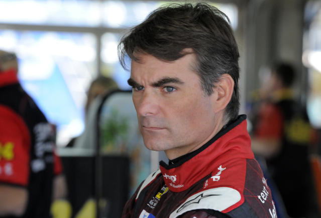 Jeff Gordon looks from the garage before practice for Sunday's NASCAR Coca-Cola 600 Sprint Cup series auto race at Charlotte Motor Speedway in Concord, N.C., Saturday, May 23, 2015. (AP Photo/Mike McCarn)
