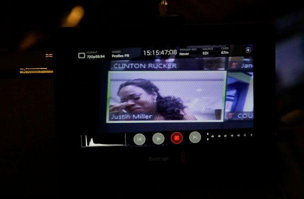PHOTO: On a video conference call, Tomika Miller, widow of Rayshard Brooks speaks to Judge Jane C. Barwick during a bond hearing for former Atlanta police officer Garrett Rolfe, June 30, 2020, in Atlanta. (Brynn Anderson/AP, FILE)