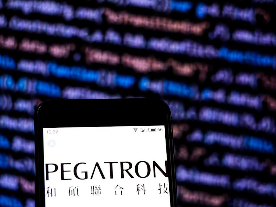 KIEV, UKRAINE - 2018/12/03: In this photo illustration, the Pegatron Electronics company logo seen displayed on a smartphone. (Photo Illustration by Igor Golovniov/SOPA Images/LightRocket via Getty Images)