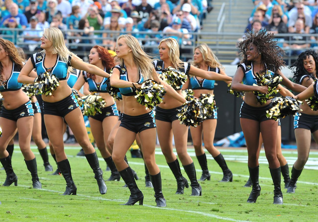Cheerleaders of the Jacksonville Jaguars dance before play against the Indianapolis Colts January 1, 2012 at EverBank Field in Jacksonville, Florida. The Jaguars won 19 - 13. (Photo by Al Messerschmidt/Getty Images)