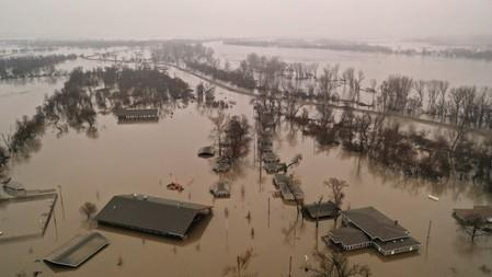 FILE PHOTO:    A flooded parcel of land along the Platte River is pictured in this aerial photograph at La Platte, south of Omaha