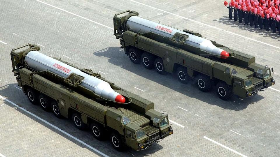 This picture, taken by North Korea's official Korean Central News Agency on April 15, 2012 shows missiles on vehicles during a military pararade commemorating the 100th birth anniversary of former North Korean President Kim Il Sung (AFP Photo/Kns)