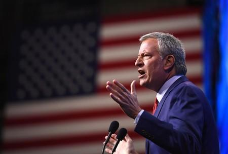 Democratic 2020 U.S. presidential candidate and New York Mayor Bill de Blasio addresses the New Hampshire Democratic Party state convention in Manchester