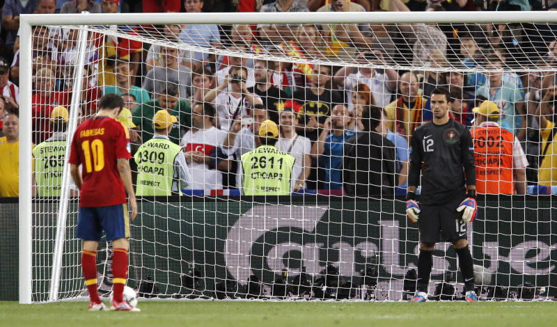 Spain's Cesc Fabregas prepares to take the winning kick during a penalty shootout in the Euro 2012 soccer championship semifinal match between Spain and Portugal in Donetsk, Ukraine, Thursday, June 28, 2012. Spain beat Portugal 4-2 in penalty shootout after the match finished 0-0 following extra time. (AP Photo/Matthias Schrader)