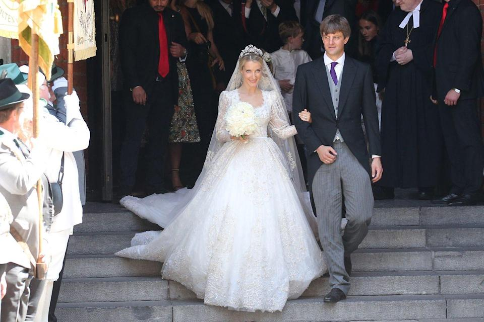 <p>Russian fashion designer Princess Ekaterina married Crown Prince Ernst of Hanover in an intricately beaded Chantilly lace and tulle gown by Sandra Mansour. </p>