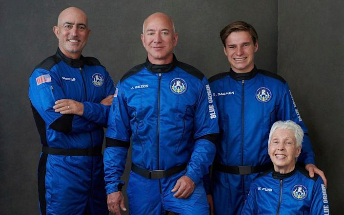 The Blue Origin crew, from left to right: Mark Bezos, brother of Jeff Bezos; Jeff Bezos, founder of Amazon and space tourism company Blue Origin; Oliver Daemen of the Netherlands; and Wally Funk, aviation pioneer from Texas - Blue Origin